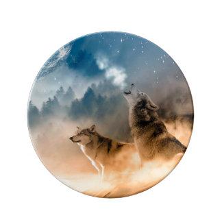 Prato De Porcelana Lobo de Howlin - arte do lobo - lobo da lua - lobo