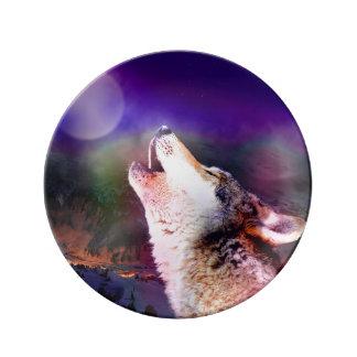 Prato De Porcelana Lobo de Howlin - lobo da lua - lobo principal