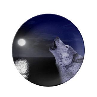 Prato De Porcelana Lobo de mar - lobo da lua - Lua cheia - lobo