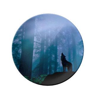 Prato De Porcelana Lobo do urro - lobo selvagem - lobo da floresta