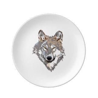 Prato De Porcelana Lobo principal - ilustração do lobo - lobo