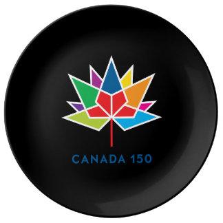 Prato De Porcelana Logotipo do oficial de Canadá 150 - multicolorido