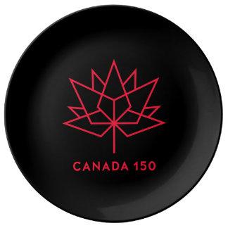 Prato De Porcelana Logotipo do oficial de Canadá 150 - preto e