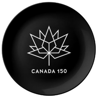 Prato De Porcelana Logotipo do oficial de Canadá 150 - preto e branco