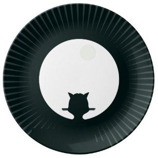 Prato De Porcelana Lua cheia do gato preto