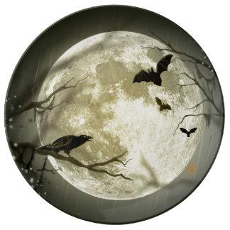Prato De Porcelana Lua do Dia das Bruxas - ilustração da Lua cheia