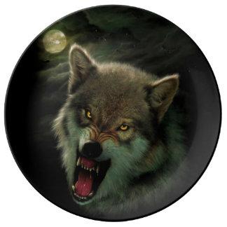 Prato De Porcelana Lua do lobo
