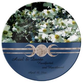 Prato De Porcelana Lua vibrante Handfasting triplicar-se do Dogwood