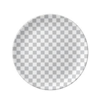 Prato De Porcelana Luz - tabuleiro de damas cinzento