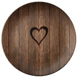 Prato De Porcelana Madeira rústica impressão queimado do coração
