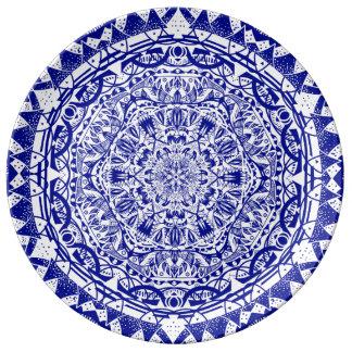 Prato De Porcelana Mandala azul escuro de Mehndi