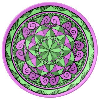 Prato De Porcelana Mandala do índigo