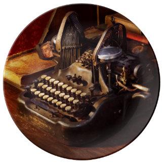 Prato De Porcelana Máquina de dactilografia de Steampunk - de Oliver
