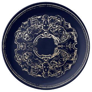 Prato De Porcelana Marinho italiano do ouro de Champagne do ornamento