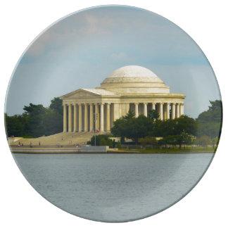 Prato De Porcelana Memorial de Jefferson no Washington DC