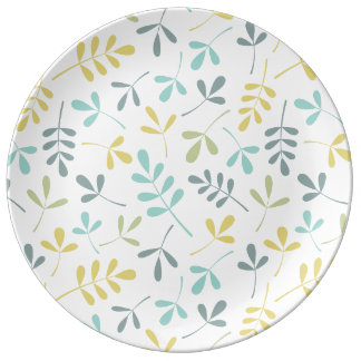 Prato De Porcelana Mistura Assorted da cor do teste padrão das folhas