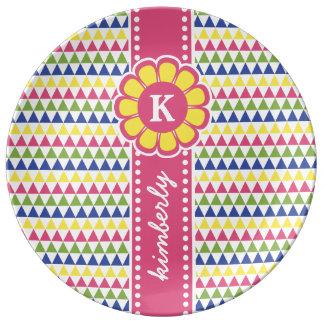 Prato De Porcelana Monograma geométrico colorido da fita da flor da