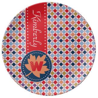 Prato De Porcelana Monograma geométrico do teste padrão da queda