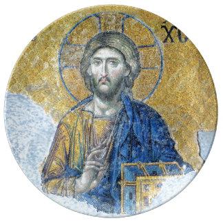 Prato De Porcelana Mosaico Hagia Sophia de Deësis do Jesus Cristo