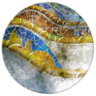 Prato De Porcelana Mosaicos do banco de Parc Guell na espanha de