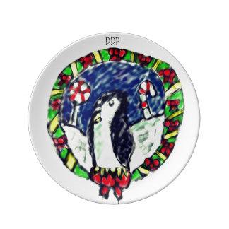 Prato De Porcelana Natal do pinguim