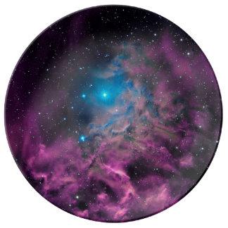 Prato De Porcelana Nebulosa flamejante da estrela