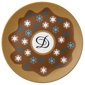 Prato De Porcelana O azul da rosquinha do Natal do floco de neve