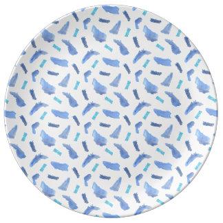 """Prato De Porcelana O azul mancha 10,75"""" placa decorativa da porcelana"""