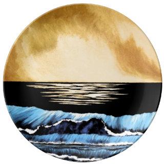 Prato De Porcelana O mar Collectible da pintura do oceano acena o