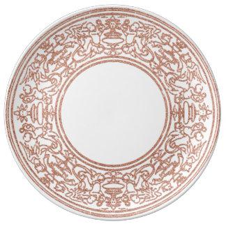 Prato De Porcelana O ouro cor-de-rosa do ornamento do renascimento