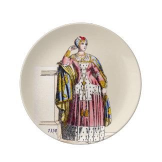 Prato De Porcelana O ~ TRAJA a senhora do ~A ~ 1350s de Rank~ Edward