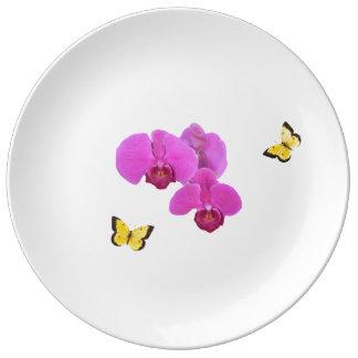 Prato De Porcelana Orquídea cor-de-rosa