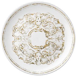 Prato De Porcelana Ouro branco do ornamento italiano do renascimento