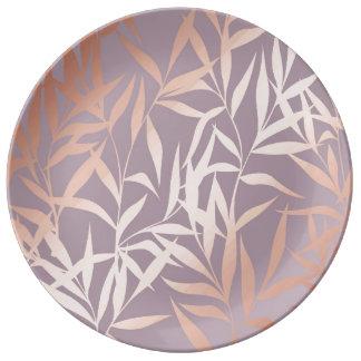 Prato De Porcelana ouro cor-de-rosa, asiático, folha, teste padrão,