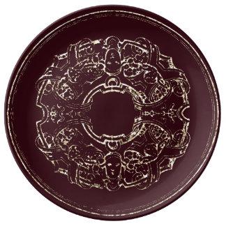 Prato De Porcelana Ouro italiano de Burgund do ornamento do
