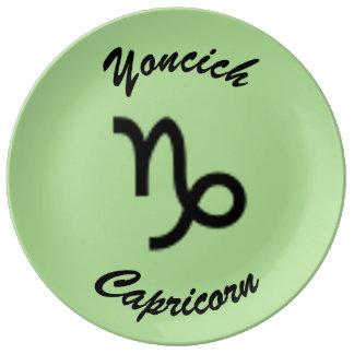 Prato De Porcelana Padrão do símbolo do zodíaco do Capricórnio por K