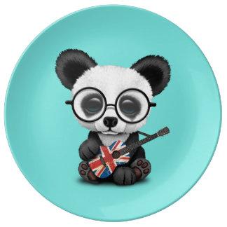 Prato De Porcelana Panda do bebê que joga a guitarra britânica da