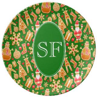 Prato De Porcelana Papai noel e monograma festivos do pão-de-espécie