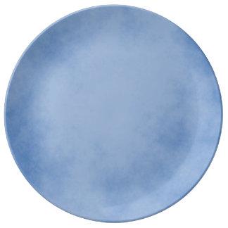 Prato De Porcelana Pergaminho azul excelente
