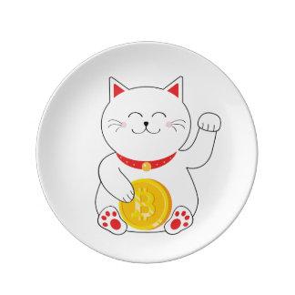 Prato De Porcelana Placa afortunada de Bitcoin do gato de Maneki Neko
