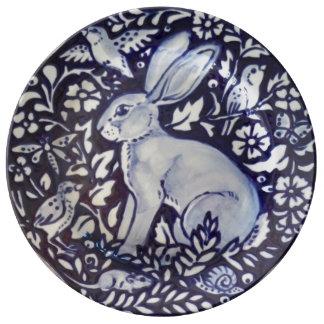 Prato De Porcelana Placa bonito floral da porcelana do coelho azul &