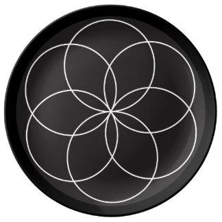 Prato De Porcelana Placa da flor do torno