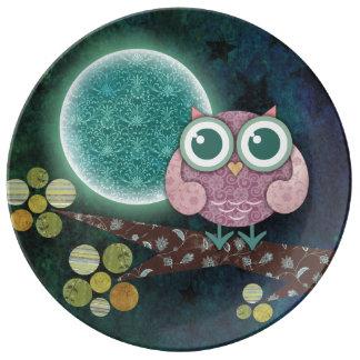Prato De Porcelana Placa da meia-noite da porcelana da coruja