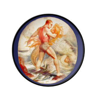 Prato De Porcelana Placa da porcelana da sereia e do homem