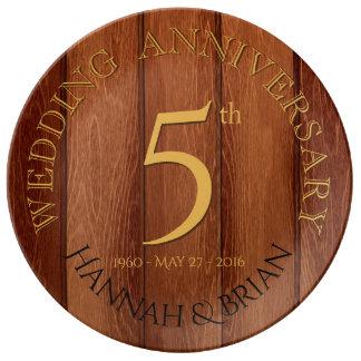 Prato De Porcelana Placa da porcelana do aniversário de casamento da