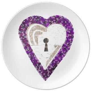Prato De Porcelana Placa da porcelana do coração do cacifo