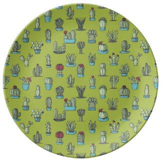 Prato De Porcelana Placa da porcelana do teste padrão do cacto