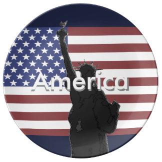 Prato De Porcelana Placa de coletores patriótica EUA da bandeira