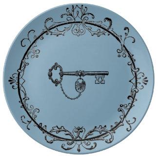 Prato De Porcelana Placa de comensal chave filigrana com chave de