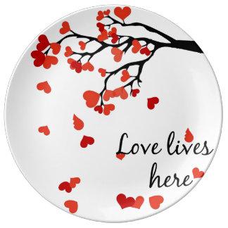 Prato De Porcelana Placa de queda da decoração da árvore do coração